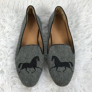 J. Crew Addie Gray Gallop Horse Flannel Loafers  6